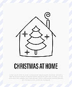 Christmas at home. Christmas tree in house. Protection from covid-19. Christmas in new normal. Thin line icon, vector illustration.