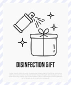 Christmas gift disinfection by spray. Protection from covid-19. Christmas in new normal. Thin line icon, vector illustration.