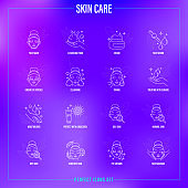 Skin care: facial mask, cleansing foam, face serum, moisturizer, under eye patches, toning, skin treatment, spf, facial massage. Thin line icons set. Vector illustration.