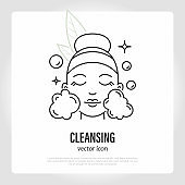 Face cleansing. Step of skin care routine. Girl's face with soap bubbles. Cosmetic procedure. Thin line icon. Vector illustration.