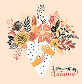 Lovely autumn card with a bouqet flowers, leaves and with the inscription I am waiting Autumn. Perfect for greeting cards, postcards, t-shirt design and other yours design in trend colors.
