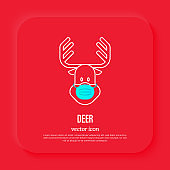 Reindeer in surgical mask, protection from covid-19. Christmas in new normal. Thin line icon, vector illustration.