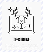 Reindeer online, social distancing. Video call with deer. Protection from covid-19. Christmas in new normal. Thin line icon, vector illustration.