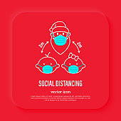 Santa Claus and children in surgical masks, social distancing. Protection from covid-19. Christmas in new normal. Thin line icon, vector illustration.