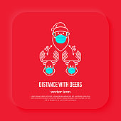 Santa Claus and deers in surgical masks, social distancing. Protection from covid-19. Christmas in new normal. Thin line icon, vector illustration.