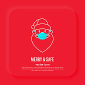 Santa Claus in surgical mask, protection from covid-19. Christmas in new normal. Thin line icon, vector illustration.