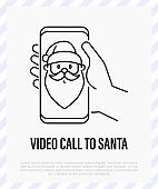 Santa Claus on smartphone in hand, social distancing. Video call with Santa. Protection from covid-19. Christmas in new normal. Thin line icon, vector illustration.