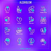 Alcoholism thin line icons set. Strong drink, withdrawal symptoms, vitamin deficiency, decreased immunity, internal organs damage, depression, dementia, emphysema. Vector illustration.