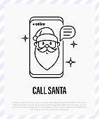 Santa Claus on smartphone screen, social distancing. Video call with Santa. Protection from covid-19. Christmas in new normal. Thin line icon, vector illustration.