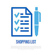 Shopping list with check marks and pen. Thin line icon. Vector illustration.