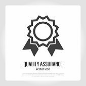 Certificate, quality assurance. Diploma, certified document, qualification. Thin line icon. Vector illustration.