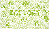 Vector Illustration of Green Icons with Ecology Concept