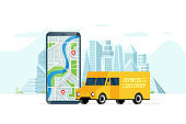 Fast delivery lorry truck ordering service app concept. Smartphone with route geotag gps location pin arrival address on city street and express cargo shipping. Online application flat vector