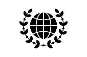 World globe with wreath linear style icon. Global peace award concept line vector illustration