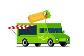 Fast food green truck. Doner kebab on van roof. Shawarma car delivery service or festival on street wheels vector flat isolated illustration