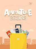 Adventure begins advertising vacation travelling poster design concept. Suitcase luggage with map flight ticket and passport. Different touristic elements and airplane path vector poster