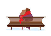 Couple in love sitting on park bench. Young loving girl hugs guy in long red scarf. Man and woman romantic relationship vector isolated illustration