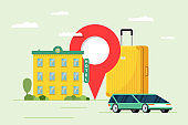 Hotel booking and car sharing service for tourism concept. Travel apartment and transport reservation. Motel building with baggage suitcase and location pin vector illustration