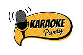 Karaoke night party script on yellow comic strip speech bubble emblem. Stage retro vintage microphone vector illustration entertainment symbol template