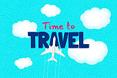 Time to travel begins motivation text and flight airplane on sky above world ocean. Tourist traveler inspiration quote lettering greeting card design template. Vector journey illustration