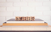 The word HELLO and blank space background, vintage.