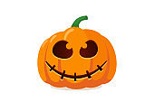 Scary spooky pumpkin jack o lantern with creepy ghost smile. Traditional happy halloween holiday celebration horror decoration evil symbol. Flat vector illustration isolated on white background