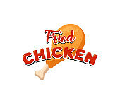Fried chicken leg with lettering restaurant menu advertisung sign design template. Cartoon fast food business crispy drumstick emblem isolated vector illustration