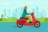 Male riding retro style scooter on modern city park road. Man drives red moped on street. Boy vintage motorcycle driver. Hipster on bike life in motion lifestyle vector illustration