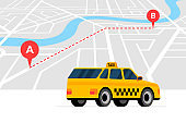 Taxi ordering and navigation service concept. A to B route with geotag gps location pin arrival address on isometric city map and yellow cab. Get taxicab flat vector illustration
