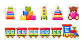 Train, pyramid, rocket, xylophone, toy blocks and bear