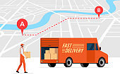 Fast delivery order service and online route tracking on city map concept. Lorry truck and male courier with package box. Express cargo logistics shipping vector illustration