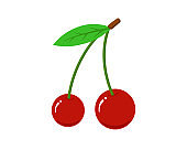 Cherry flat icon set. Fresh sweet natural red berry isolated vector illustration
