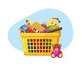 Shopping basket full of kid's toys
