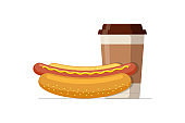 Fast food hot dog and disposable paper coffee cup. Hotdog sausage in bread bun with hot beverage. Fast food vector isolated flat illustration