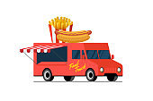 Fast food red truck. Hot dog and french fries on van roof. Fried crispy potato and bun with sausage car delivery service or festival on street cuisine wheels vector illustration