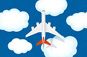 Large jet passenger airplane flies above clouds and sea with ripples. Civil aviation flying plane top view. Flat vector illustration