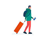 Young man traveler walking with suitcase and flight ticket. Male millennial with luggage bag and backpack go boarding to plane. Tourist passenger journey vacation concept vector illustration
