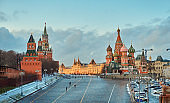 Picturesque View of Red Square From Vasilyevsky Descent Side In Winter At Sunset, Moscow, Russia