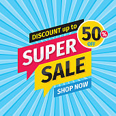 Super sale discount - vector layout concept illustration. Abstract advertising promotion banner. Creative background. Special offer. Shop now. Graphic design elements.
