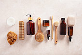 zero waste eco friendly hygiene bathroom concept. wooden toothbrush soap brush cosmetic