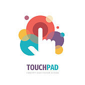 Touch pad screen finger - vector sign template concept illustration. Human hand on surface display. Modern mobile technology sign. Abstract symbol. Design element