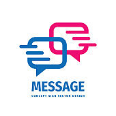 Message talking - speech bubbles vector business icon sign concept illustration in flat style. Dialogue icon. Chat sign. Social media symbol. Communication insignia. Design element.