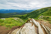 Mountain view on ukraine carpathian mountains from Hoverla