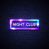 Night club neon sign on brick wall. 3d realistic retro light bar signage with neon effect on brick texture background. Techno glowing frame. Electric street banner. 80s style vector illustration.