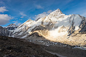 Himalaya mountains landscape view from Kalapattar view point in evening, Everest base camp trekking route, Nepal
