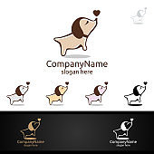 Dog with Love Symbol for Pet Shop, Veterinary, or Dog Lover Concept