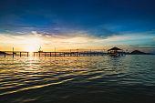 Wooden bridge at dusk
