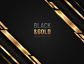 Abstract geometric shape  overlapping on black background with glitter and golden lines glowing dots golden combinations. Luxury and elegant design. Vector illustration