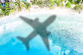 Travel traveling symbolic picture vacation sea airplane flying Seychelles beach