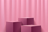 Abstract cube display for product on website in modern. Background rendering with podium and minimal pink texture wall scene, 3d rendering geometric shape pink & red wine color. Vector illustration